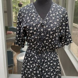 Vintage 80s does 40s Floral Button Front Day Dress
